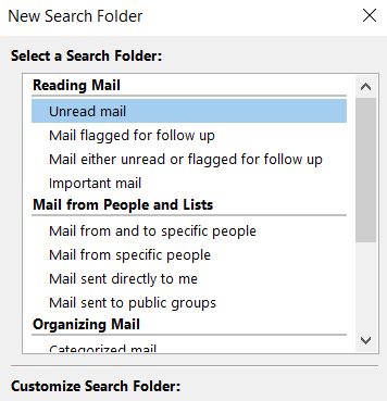 Create search folders for commonly used searches