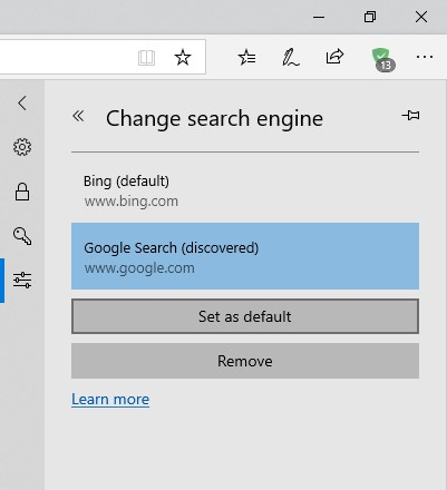 How to remove Bing from Microsoft Edge