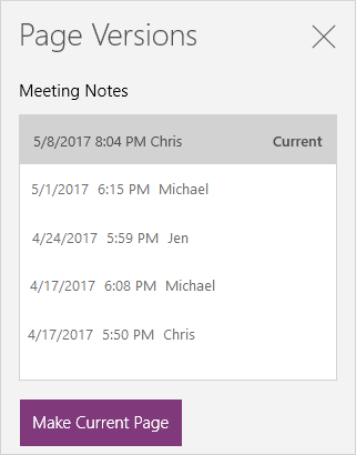 Page version history for OneNote