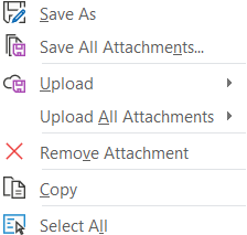 Quickly save attachments to OneDrive