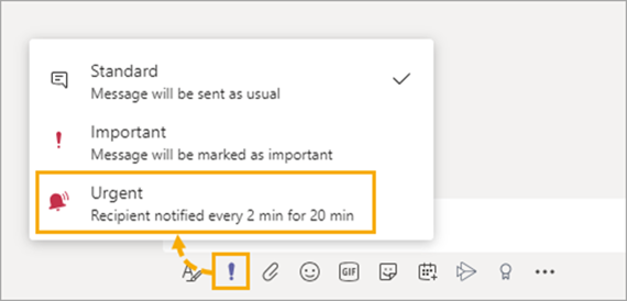 Urgent chat messages for Microsoft Teams