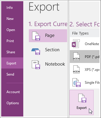 OneNote page as PDF